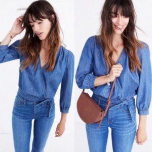 MADEWELL Cropped Denim Wrap Top